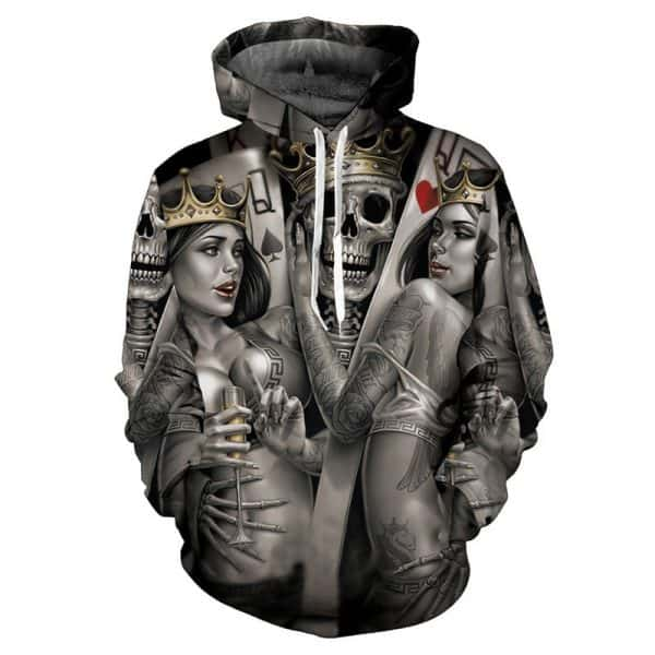 Chill Hoodies Underworld Tattoo Artist Hoodie Poker Gambling Skulls Unisex Adult Sweatshirt