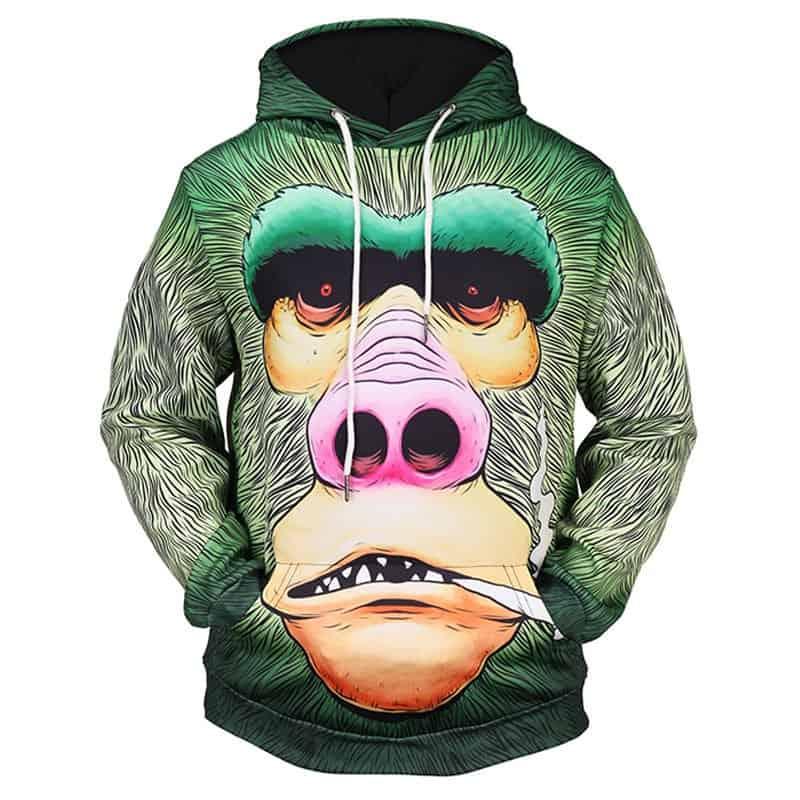 Chill Hoodies Gorilla Smoking Blunt Hoodie Ape Unisex Adult Sweatshirt