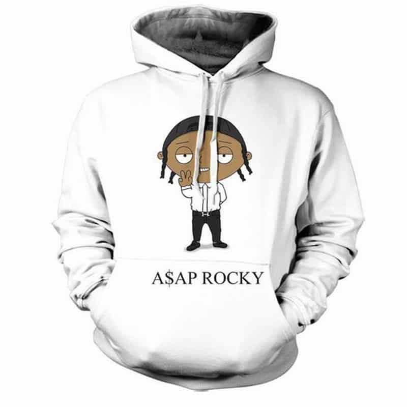 Chill Hoodies ASAP Rocky Hoodie A$AP Mob Hip Hop Group White Sweatshirt Unisex Adult