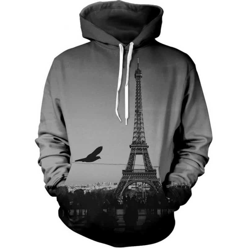 Chill Hoodies Gray Eiffel Tower Hoodie France Paris Unisex Adult Sweatshirt