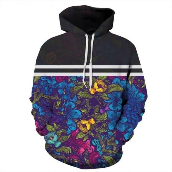 Chill Hoodies Floral Pattern Hoodie Stylish Flowers Adult Unisex Sweatshirt