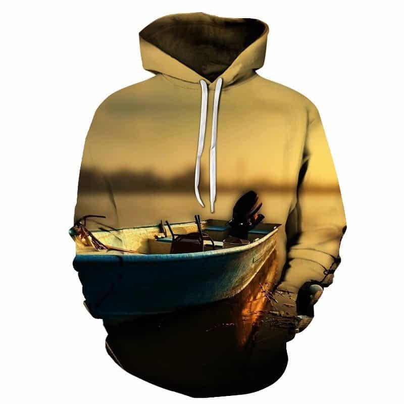 Chill Hoodies Fishing Boat Hoodie Lake Unisex Adult Sweatshirt