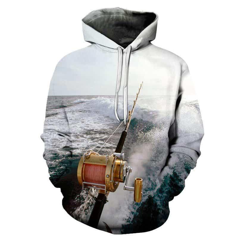 Chill Hoodies Deep Sea Angling Fishing Hoodie Fishing Rod Unisex Adult Sweatshirt