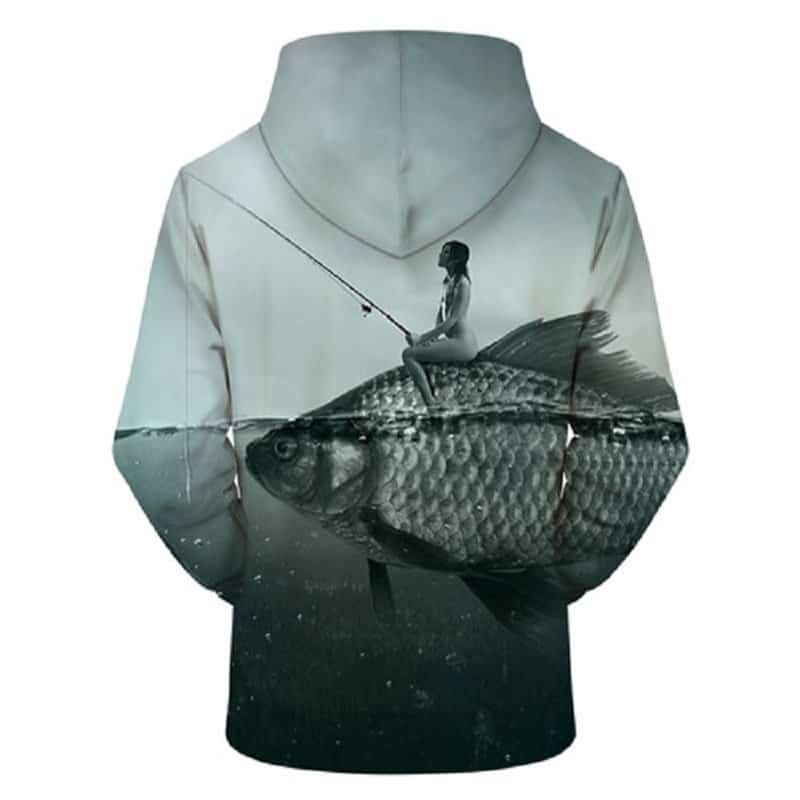 Chill Hoodies Sweatshirts Men Women Kids Adult Beautiful Woman Fishing on a Fish Hoodie 1