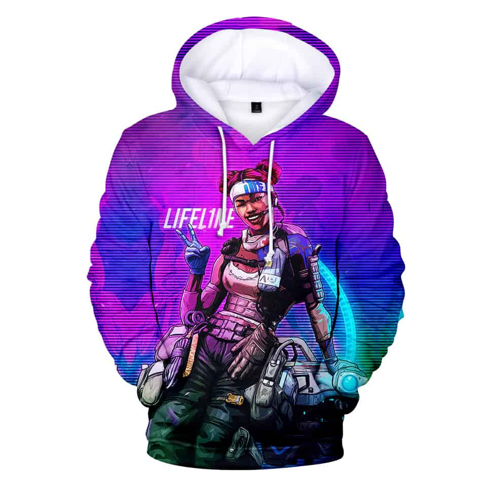 Chill Hoodies Lifeline Apex Legends Hoodie EA Games Unisex Adult Children Sweatshirt Neon Background