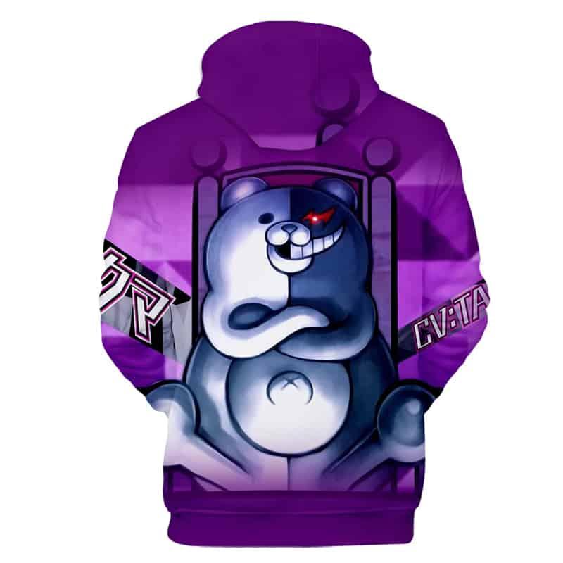 Chill Hoodies Backside View Purple Monokuma Hoodie Danganronpa Unisex Adult Children