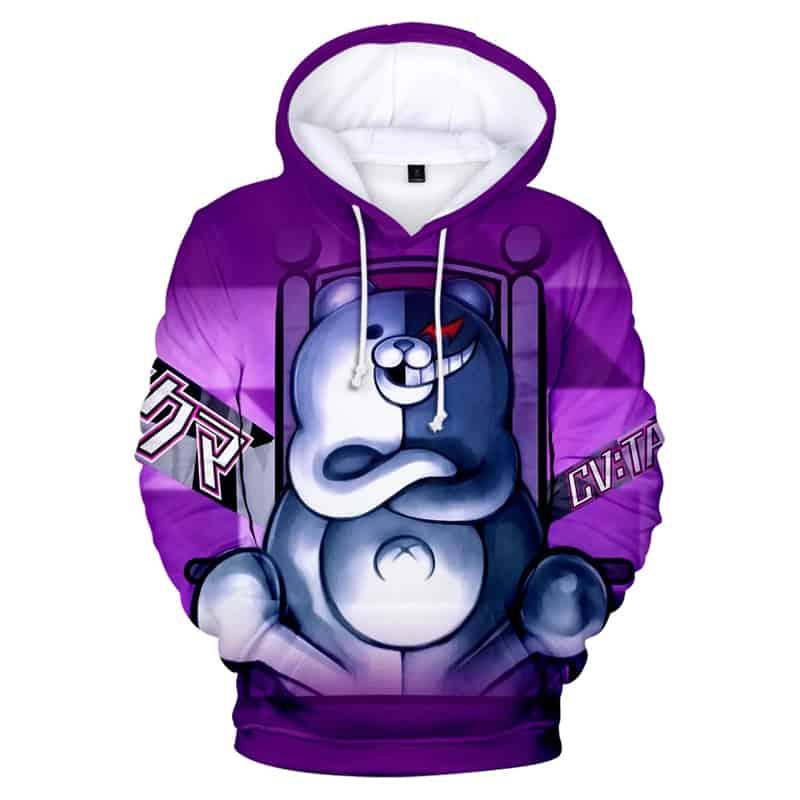 Chill Hoodies Purple Monokuma Hoodie Anime Manga Series Danganronpa Unisex Adult Sweatshirt