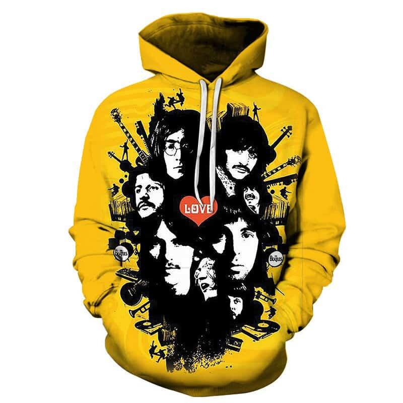 Yellow The Beatles Liverpool Hoodie Love England