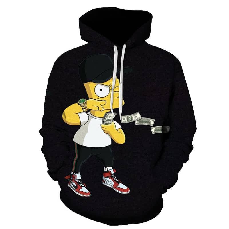 Chill Hoodies Bart Simpson Black Hoodie Sweatshirt The Simpsons TV Show